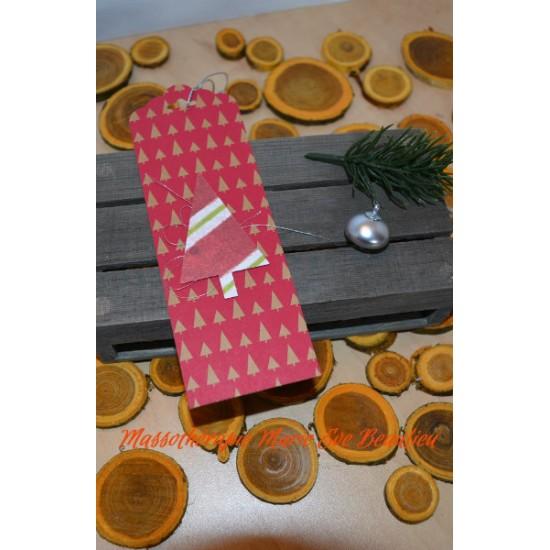 Étiquettes Cadeau -sapin rouge